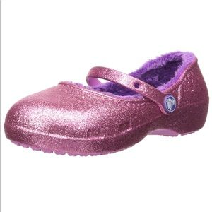 Crocs Girls Glitter Fur Clogs 7 Toddler